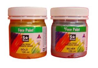 FIVE STAR FACE PAINT 125ML METALLIC COLOURS